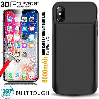 AU62.69 • Buy IPhone X Battery Case, Rechargeable Power Bank Charging Case For Apple - Black