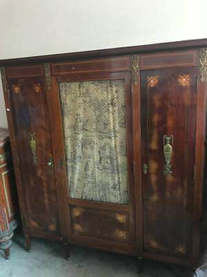 AU1799 • Buy Large Louis Xv Mahogany Bookcase/cabinet With Inlay & Bronze Escutcheons/ormolus
