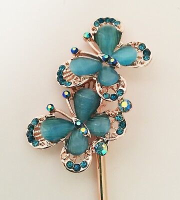 $9.99 • Buy Butterfly Design Hair Stick In Gold Tone With Crystal And Rhinestones