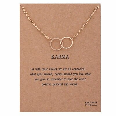 Karma Necklace Rose Gold Charm Yoga Circle Gift Wish Card • 4.99£