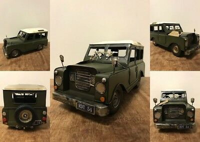 Brand New Model 4x4 Tin Car - Green Land Rover Style - Vintage Effect Metal Tin • 28.95£
