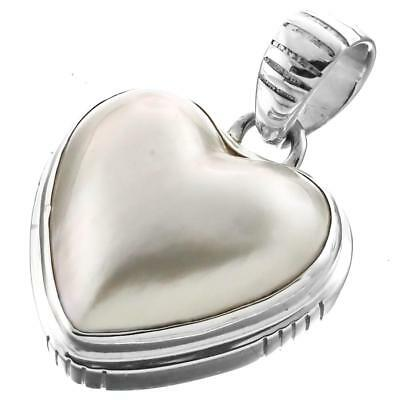 $29.95 • Buy 1 1/8  HEART VALENTINE WHITE MABE PEARL 925 STERLING SILVER Pendant
