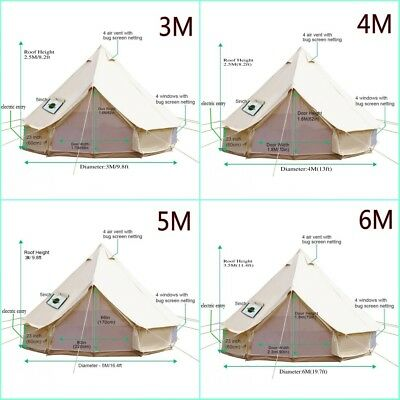 4-Season Cotton Canvas Waterpoof Bell Tent Front Awning Party 4M 5M 6M Yurt Tent • 494.99£