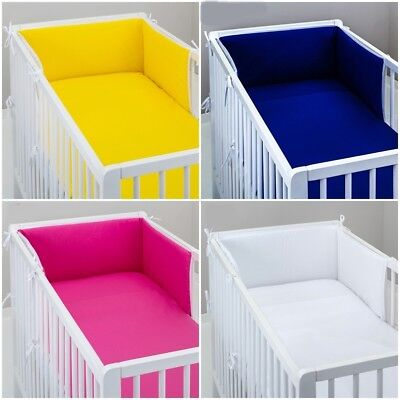 £10.99 • Buy Sale ! COT BUMPER Padded Filled Straight For Cot / Cot Bed GREY PINK BLUE WHITE