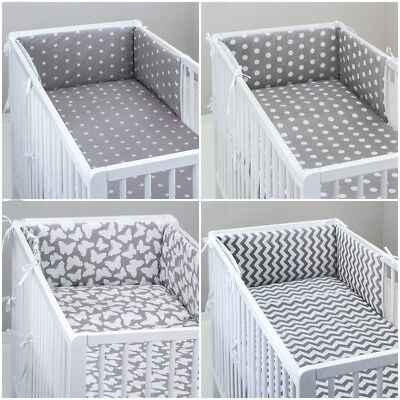 £11.99 • Buy COT BUMPER Padded Filled Straight For Cot / Cot Bed GREY STARS CHEVRON DOTS PINK