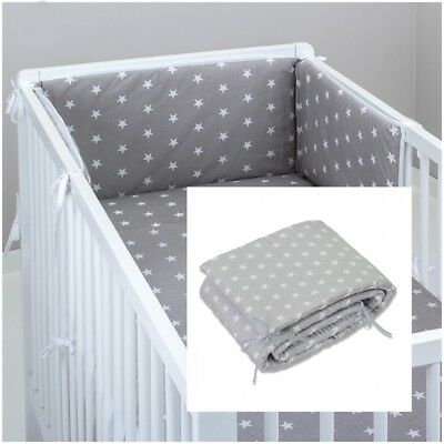 £9.99 • Buy COT BUMPER Padded Filled Straight For Cot / Cot Bed GREY STARS  180/210 Cm Long