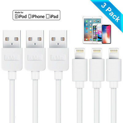 3-Pack USB Charger Data Cable Charging Lead Wire Cord For IPhone IPad IPod • 3.99£