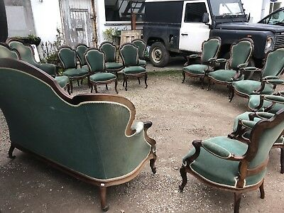 Rare Antique French Rosewood Salon Set 6 Dining Chairs 6 Carvers 1 Sofa 2 Gents • 3,000£