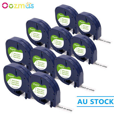 AU26.07 • Buy 10PK 91330 White Paper Compatible DYMO LetraTag 92630 12mm Label Tape Laminated