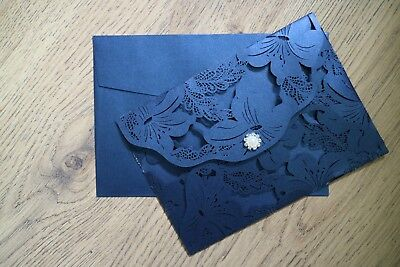 Blue Personalised Wedding Invitations Day/evening Vintage Style Lace Laser Cut  • 2.70£