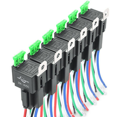 $ CDN27.92 • Buy MICTUNING 6 PACK 12V 5-Pin 30A Fuse Relay Switch Harnes Kit SPDT 14AWG Wire NEW