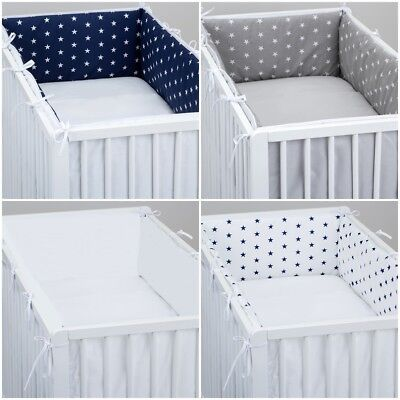 £15.99 • Buy ALL ROUND BUMPER Padded Filled Straight For Cot / Cot Bed GREY STARS CHEVRON DOT
