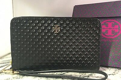 80311912d86 NEW TORY BURCH Marion Embossed Black Leather Smartphone Wallet  Wristlet+Gift Box • 114.50