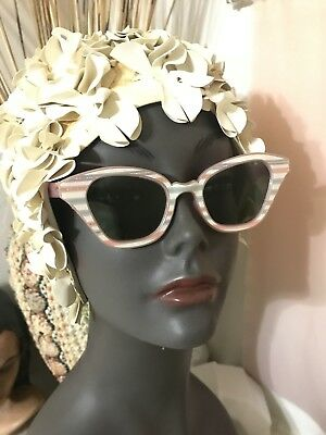 AU95.34 • Buy Vintage 60's Pink And Silver Plastic Sunglasses Made In The USA