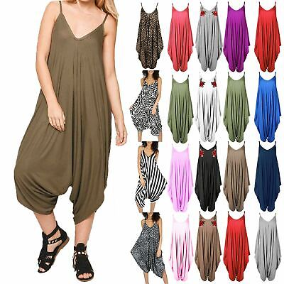 New Womens Ladies Cami Thin Strap Romper Baggy Loose Fit Harem Jumpsuit Playsuit • 6.99£
