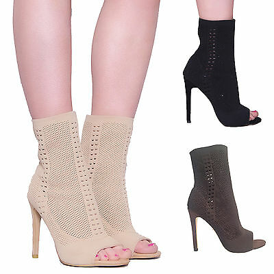 £14.95 • Buy Womens Ladies Stiletto High Heel Fashion Ankle Boots Knit Stretch  Peep Toe Size