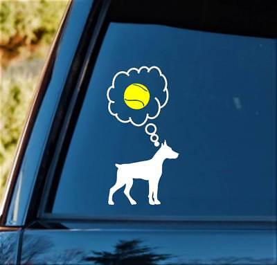 £3.25 • Buy Doberman Tennis Ball Dog Decal Sticker L1066 Dog Toy Pet Gift Accessory For Car