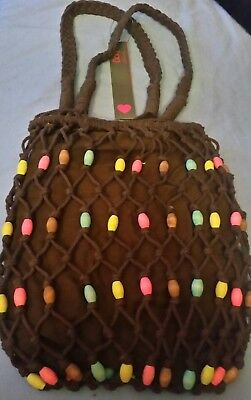 2 X Womens/Ladies Spirit Bags☆Brown Safari String Bag With Coloured Wooden Beads • 15£