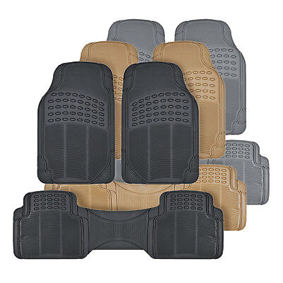 $21.95 • Buy All Weather 3pc Rubber Car Floor Mats And Row Liner - Trimmable Front & Rear