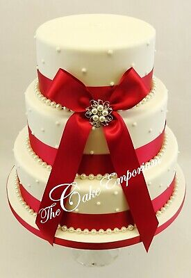 £15.99 • Buy WEDDING CAKE PEARL BROOCH WITH 35mm DOUBLE SATIN RIBBON & PEARLS CAKE TOPPER SET