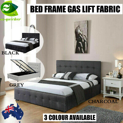 AU294.45 • Buy BED FRAME GAS LIFT Fabric GREY / BLACK COLOUR DOUBLE QUEEN KING SINGLE SIZE