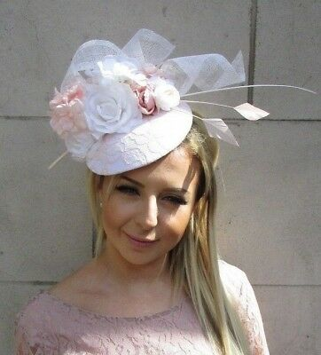 White Blush Light Pink Flower Feather Hat Fascinator Headband Wedding Hair 5724 • 42.95£