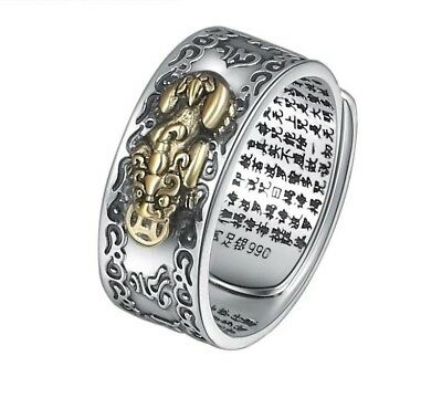 £32.56 • Buy Adjustable Buddha Opening Ring Real 925 Sterling Silver Lucky Vajra Scripture .
