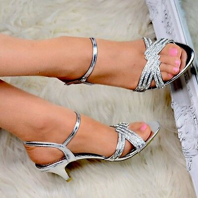 Women Silver Diamante Sandals Mid Heel Shoes Evening Wedding Ankle Strap Size • 20.81£