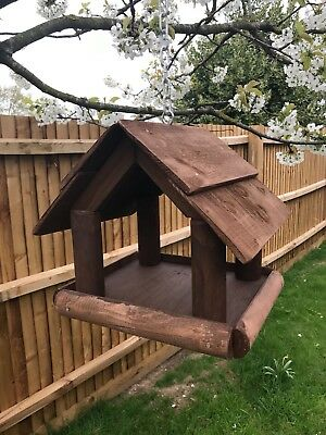Premium Hanging Wooden Bird Table (Feather Edge Roof) • 34.99£