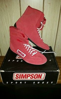 $100 • Buy Simpson Racing Driving Shoes High Top Red Mens Size 11