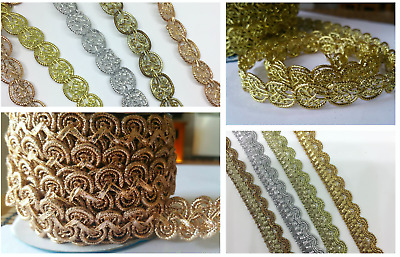 Sparkly Braided GOLD&SILVER Ribbons Lace Trim For Craft DIY Sewing Decor Wedding • 2.59£