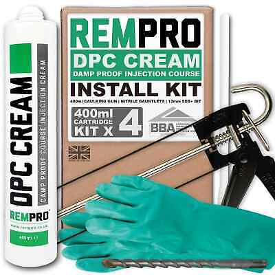 £36.99 • Buy Rempro 4 X 400ml DPC Damp Proofing Injection Cream & Application Install Kit BBA