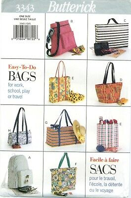 $10.95 • Buy Butterick 3343 TOTE BAGS Grocery Book Beach Backpack Sewing Pattern UNCUT