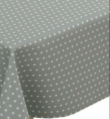 Fryett Little Twinkle Star Grey Cotton PVC Fabric WIPE CLEAN Tablecloth Oilcloth • 6.99£
