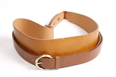 £12.99 • Buy Beautiful Women Thick Double Waist Brown Belt With Golden Round Buckle (S383)