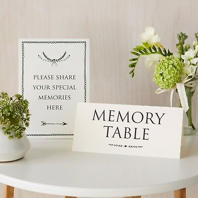 £7.99 • Buy 'Share Your Memories' & 'Memory Table' 2 Sign Set - For Funeral, Condolence Book