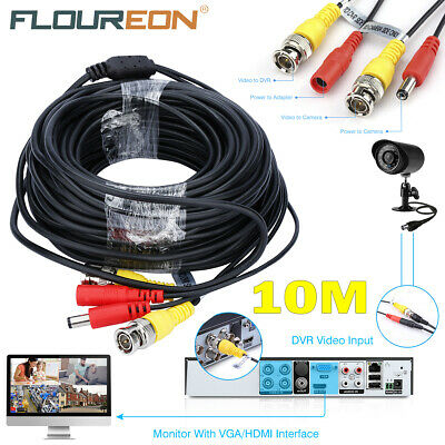 10M CCTV DVR Camera Record Video Cable DC Power Security RCA BNC Extension Cable • 5.49£