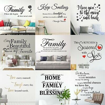 AU16.91 • Buy Custom Quotes Wall Stickers Family Removable Vinyl Decal Mural Home Decoration