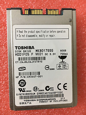 AU30.37 • Buy Toshiba MK8017GSG 80GB 5400RPM 1.8  (HDD1F05 ) HDD For HP Elitebook 2530P 2730P