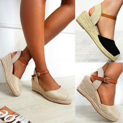 £16.99 • Buy Womens Ladies Low Heel Wedge Espadrilles Summer Sandals Casual Holiday Size New