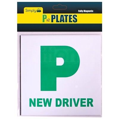 Simply 2 X Fully Extra Strong Magnetic Car P Plates Learner Driver Just Passed • 2.89£