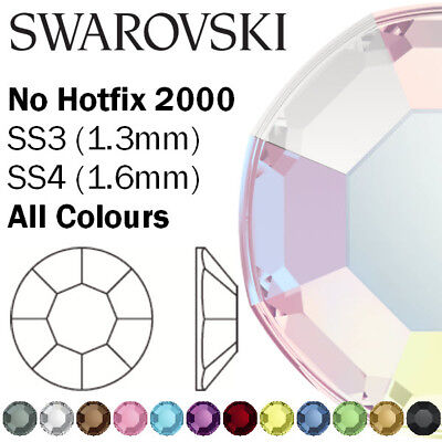 Genuine SWAROVSKI Crystal 2000 Flatback Non Hot Fix SS3 & SS4 - All Colours • 30.34£