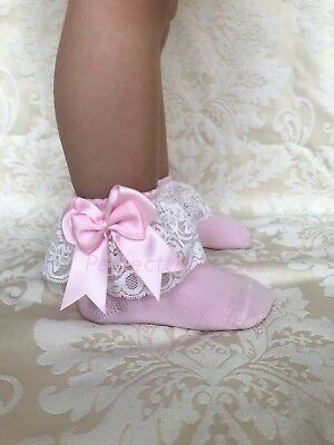 £5.95 • Buy PERFECT PRINCESS Spanish Lacey Double Bow Ankle Socks Baby/Girl/Flower Girl/Lace