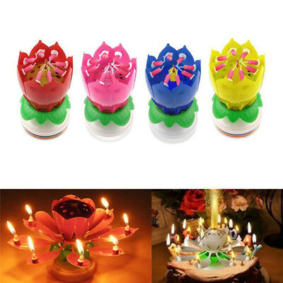 $ CDN5.06 • Buy Lotus Candle Birthday Flower Musical Rotating Floral Cake Candles Music Magic