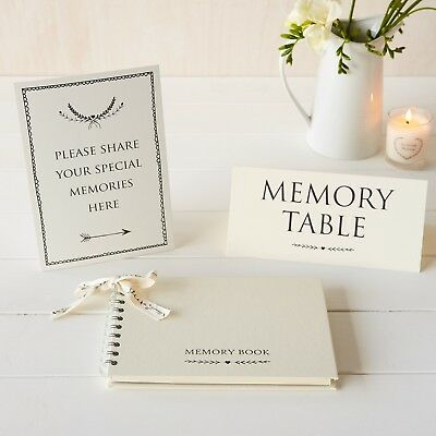 £19.99 • Buy A5 Luxury Ivory Memory Book & 2 Signs Set - Funeral, Condolence Book, Memorial
