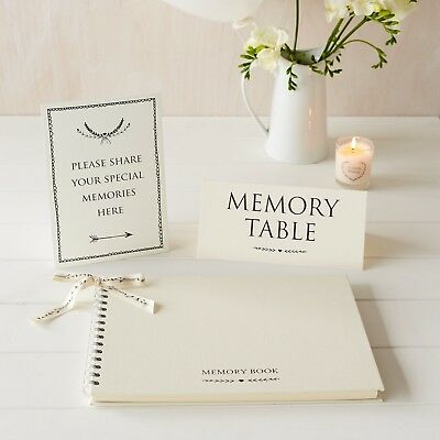 £22.99 • Buy A4 Luxury Ivory Memory Book & 2 Signs Set - For Funeral, Condolence Book
