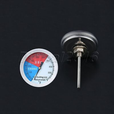 100-550℉ Barbecue BBQ Smoker Grill Thermometer Stainless Steel Temperature Gauge • 3.58£