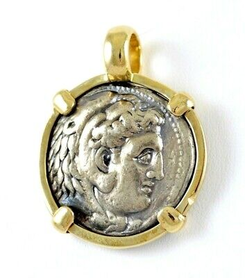 £1807.19 • Buy Alexander The Great Silver Tetradrachm Coin In 14K Gold Round Pendant 24 GRAMS