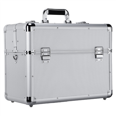 Large Aluminum Tool Box Case Portable Compartment Storage Organiser Bag Silver • 32.99£