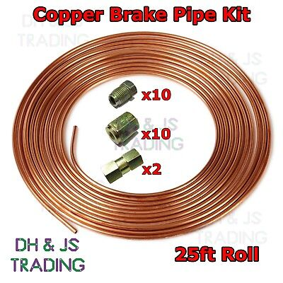 Copper Brake Pipe Hose Kit 25ft 10 Male & 10 Female Nuts Joiner Joint 3/16 Union • 14.95£